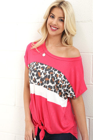 Color Block Leopard Tie Print Top - Coral