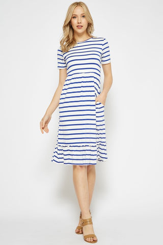 Midi Ruffle Dress - Striped Royal