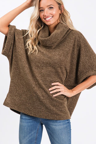 Fall Adventure Poncho Top - Olive