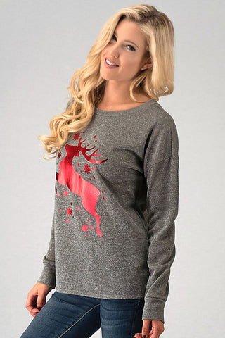 Foil Reindeer Top - Red