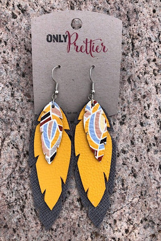 Layered Leather Earrings - Yellow
