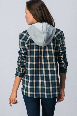 Hooded Flannel Top - Green