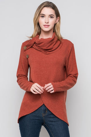 Criss Cross Cowl Neck Top - Rust