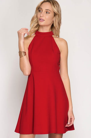 Halter Flare Dress - Red