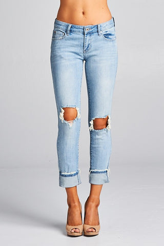 Distressed Light Wash Rolled Jeans