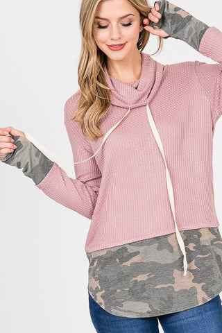 Camo Color Block Cowl Neck - Mauve