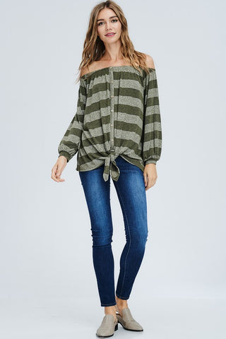 Striped Off Shoulder Button Down Top - Olive
