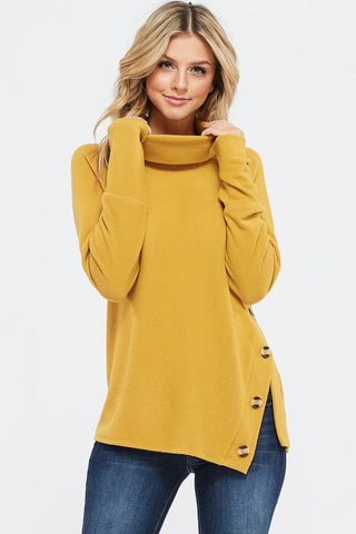 Cozy Calls Asymmetrical Cowl Neck Top - Mustard