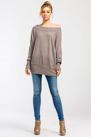 Off Shoulder Sweater - Taupe
