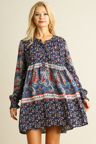 Boho Floral Baby Doll Dress - Navy