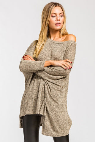 Flowy Poncho Style Top - Taupe