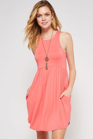 Simple Summer Dress - Coral