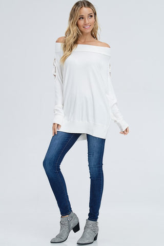 Off Shoulder Criss Cross Top - Off White