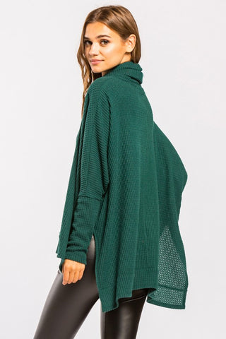 Cowl Neck Thermal Top - Hunter Green