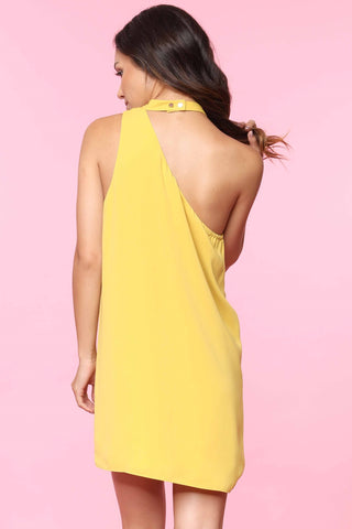 One Shoulder Shift Dress - Mustard