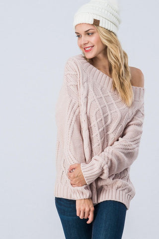 Cable Knit Off Shoulder Sweater - Mauve