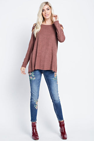 All About the Fun Cold Shoulder Top - Rust