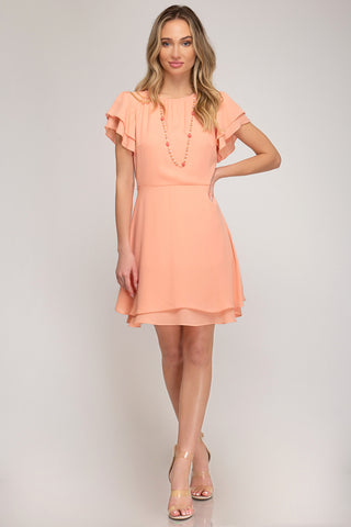 Flounce Sleeve Dress - Peach