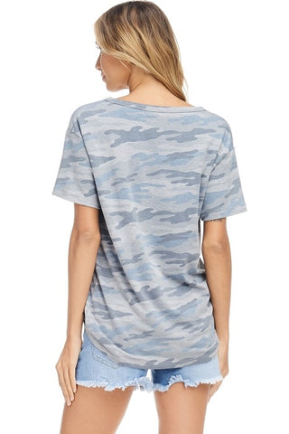 V-Neck Camo Top - Blue