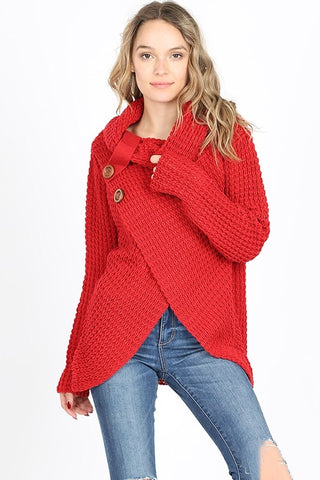 Cool Night Criss Cross Sweater -  Red