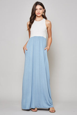 Lace Racerback Maxi Dress - Light Blue