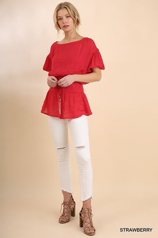Corset Puff Sleeve Top - Strawberry