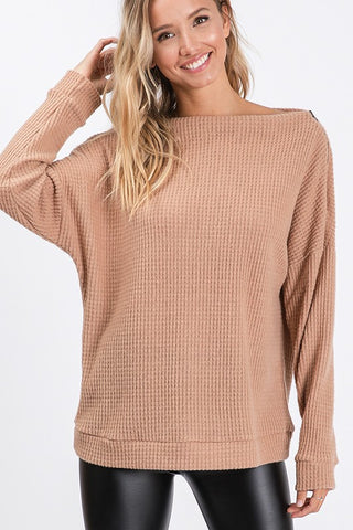 Off Shoulder Waffle Weave Top - Taupe