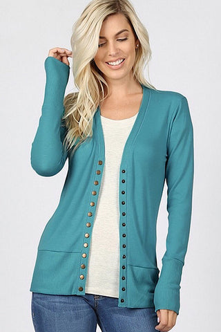 Snap Up Cardigan - Dusty Teal