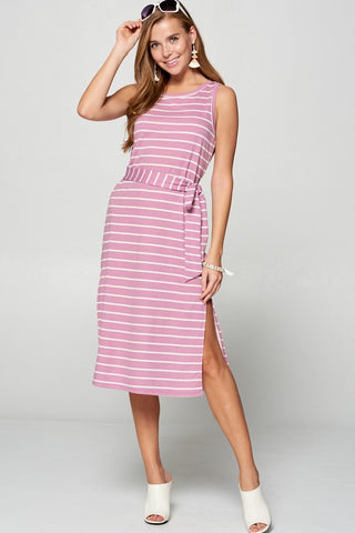 Striped Midi Dress with Side Slit - Lavender