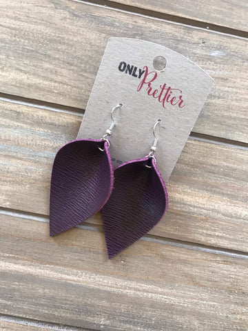 Lightweight Leather Earrings - Purple