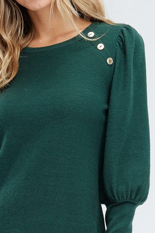 Puff Sleeve Pullover Sweater - Olive