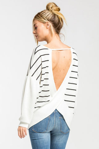 Striped Balloon Sleeve Top - Off White