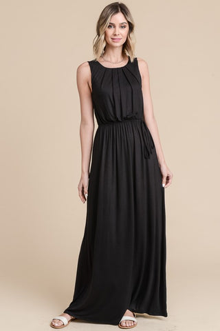 Pleated Solid Maxi Dress - Black