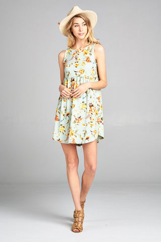 Simple Spring Tank Style Dress - Sage Floral