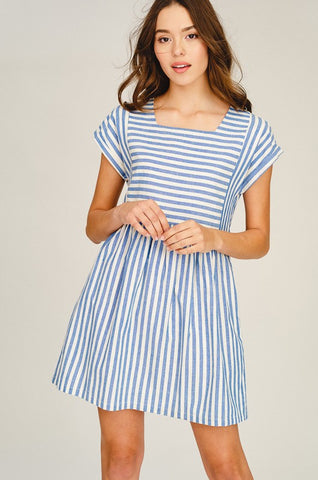 Cotton Striped Dress - Blue