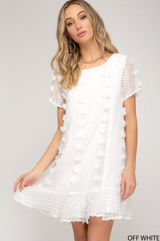 Flouncy Shift Dress - White