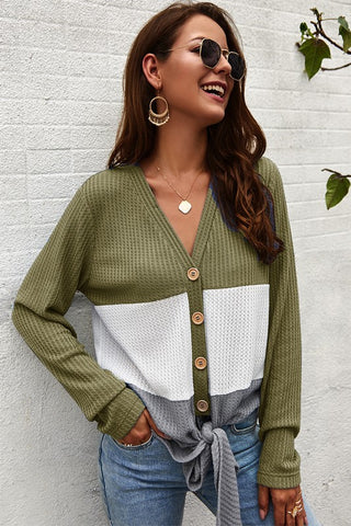 Color Block Button Up Thermal Top - Olive