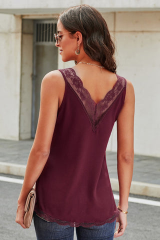 Lace Tank Top - Burgundy