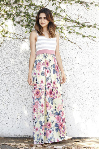 Yellow and Pink Floral Maxi Dress