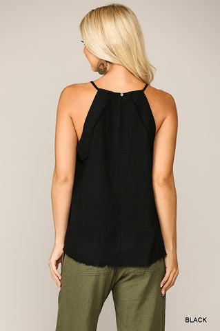 Linen Halter Top - Black