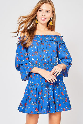 Spring Floral Off Shoulder Dress - Royal