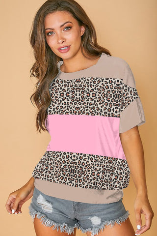 Color Block Banded Bottom Top - Mauve and Leopard