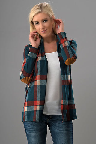 Blustery Day Plaid Cardigan - Teal