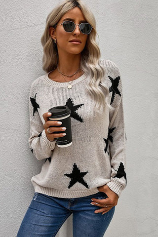 Star Print Sweater - Black