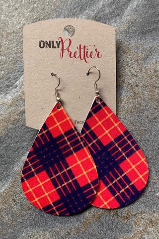 Plaid Leather Teardrop Earrings - Red and Navy