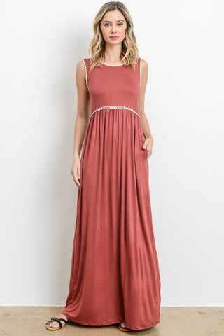 Pom Pom Detail Maxi Dress - Rust