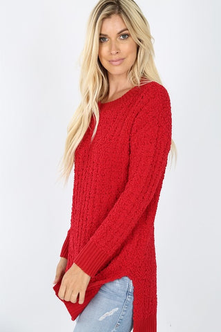 Popcorn Pullover Sweater - Red
