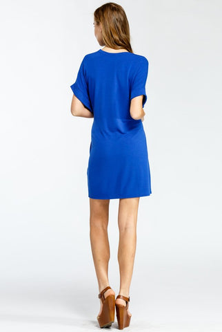 Casual Tie Dress - Royal Blue