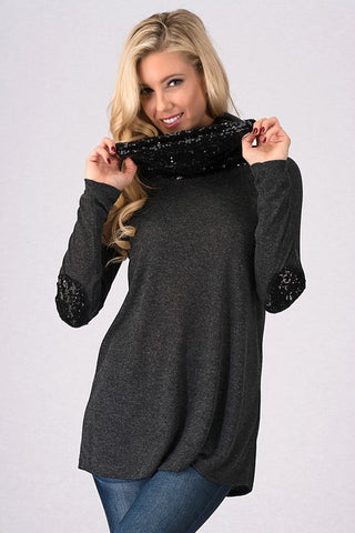 Sequined Cowl Neck Top - Charcoal