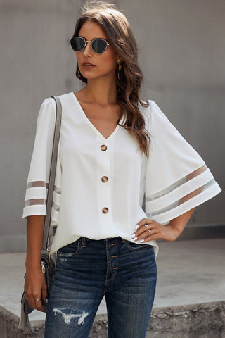 Half Sleeve Button Up Top - White